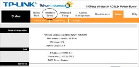 Wifi Speedy Sebulan masuk ke menu interface setup kemudian pilih submenu wireless