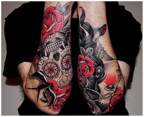 skull and rose tattoo sleeve flower tattoos designs pictures page 3
