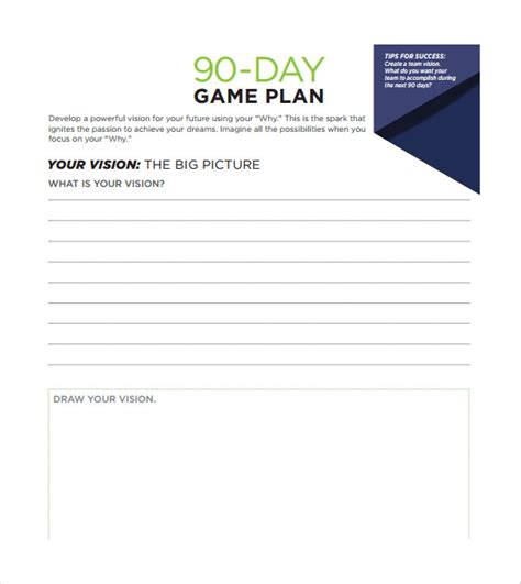 11 30 60 90 Day Plan Sles Sle Templates 90 Day Planner Template