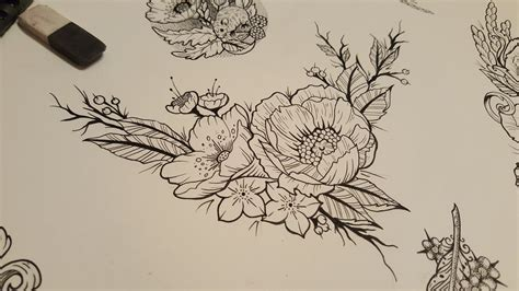 floral fineline tattoo sketch by james tripleace on deviantart