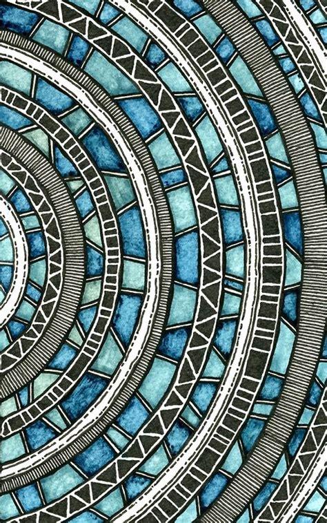 watercolor ink pattern circular waves by rebecca blair watercolor and ink