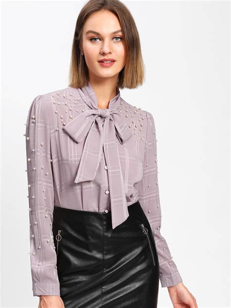 Lewis Tie Neck Blouse by Faux Pearl Tie Neck Blouse Shein Sheinside