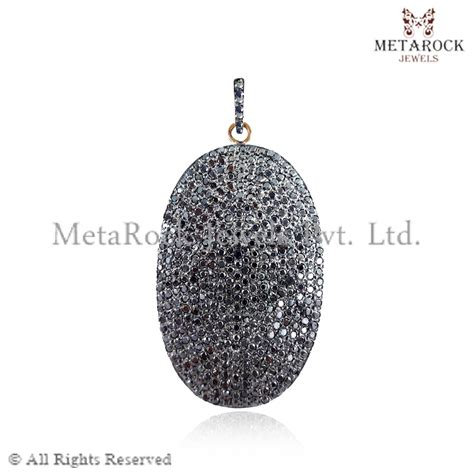 14k Gold & Silver Pave Diamond Custard apple Pendant Charms, Wholesale Suppliers Pave Diamond