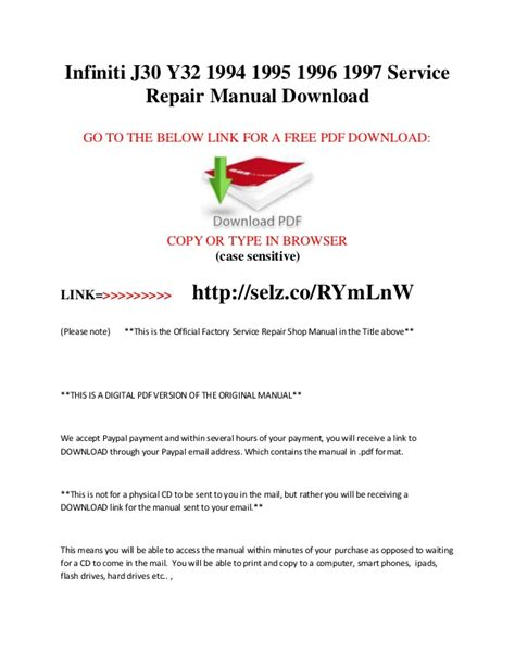 free auto repair manuals 1997 infiniti j electronic valve timing infiniti j30 y32 1994 1995 1996 1997 service repair manual download