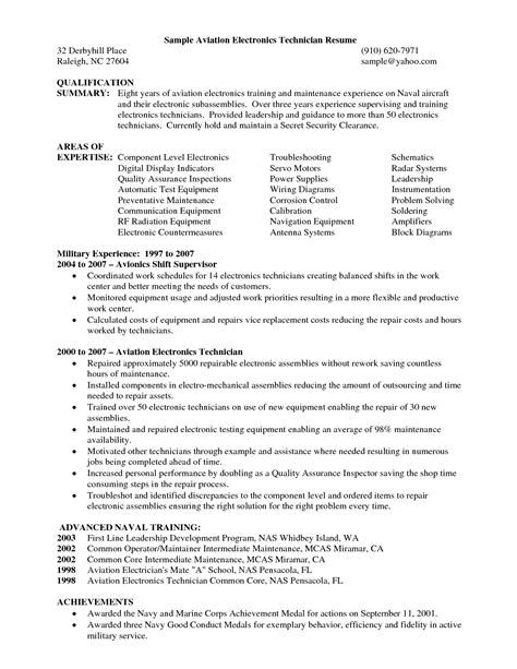 Sle Aviation Electronics Technician Resume resume format and sle find easy with