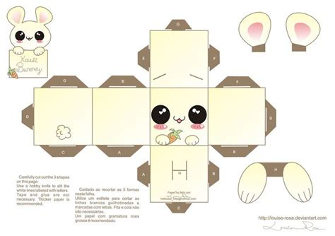 Diy Papercraft - kawaii box template printable diy and crafts