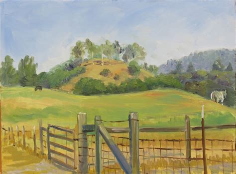 Fields Of Green Original Board farm land landscape california impressionism