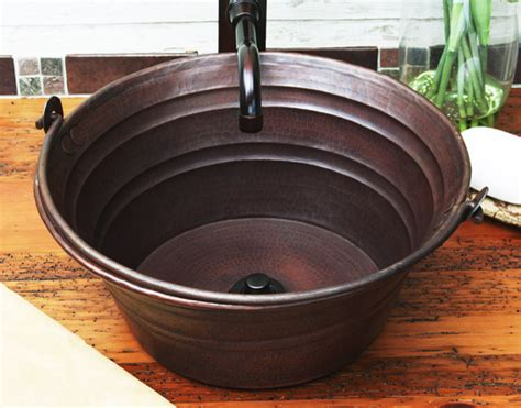 rustic sinks bathroom copper bucket sink rustic bathroom sinks other metro by rusticsinks