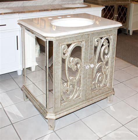 Mirrored Vanities For Bathroom Antiqued Mirrored Bathroom Vanity Ba948529