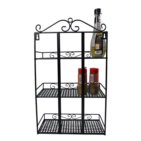Metal Wall Spice Rack Vintage Shabby Chic Metal Rack Kitchen Spice Herbs Storage