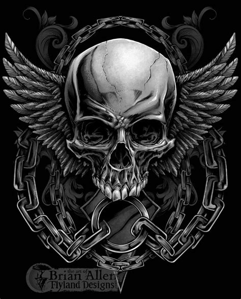 evil skull design with wings and chains for a mma apparel brand t shirt designs skull skull