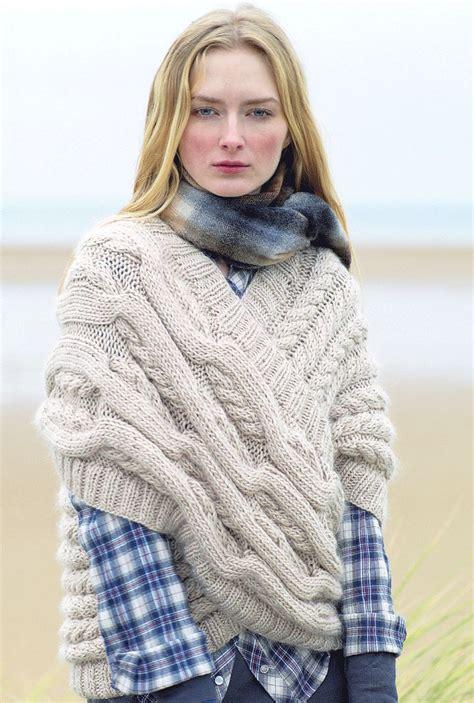 knit rowan free patterns rowan magazine 48 cabled cross wrap free pattern