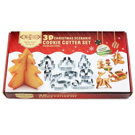 Cookie Cutter Natal Set 3 Pcs Stainless lifetalk 8pcs set diy stainless steel bakeware 3d