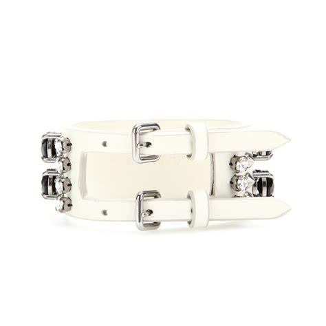 Miu Mius Patent Buckle Embellished Cuff Bracelet by Lyst Miu Miu Embellished Leather Bracelet In Metallic