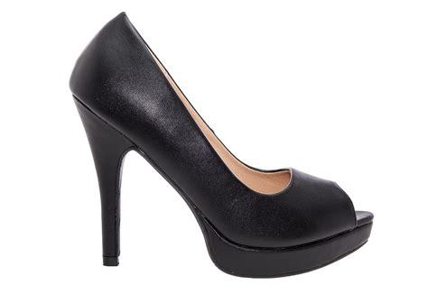 Platform Faux Leather Shoes black faux leather peep toe platform shoes large