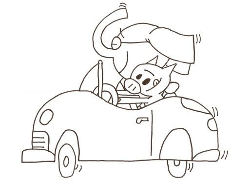 elephant piggie coloring sheet quot let s go for a drive