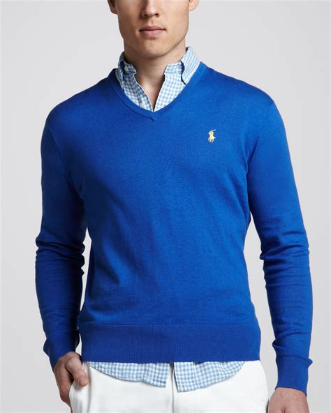 Sweater Polos lyst polo ralph vneck cottoncashmere sweater in blue for