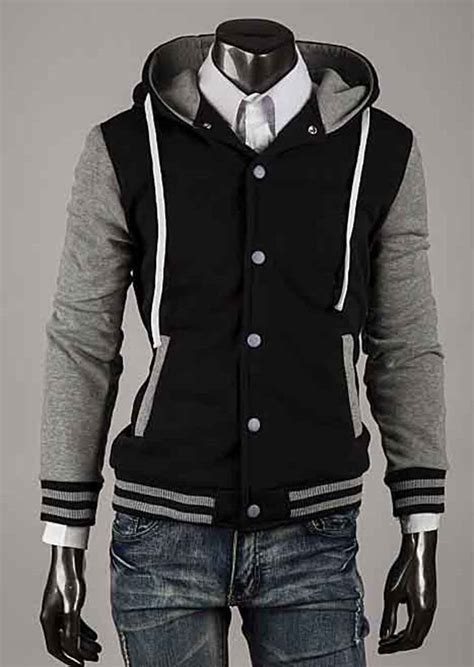 hooded baseball jacket s new varsity letterman college hoodie hooded baseball
