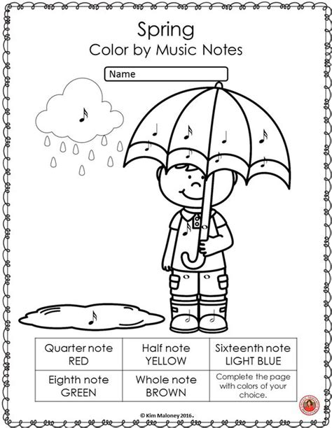 spring music activities color by music symbol read