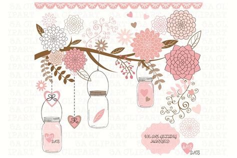Jar Wedding Clipart by Wedding Jar Clipart Illustrations Creative Market