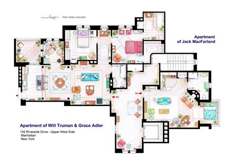 artist illustrates floorplans of famous tv show apartments
