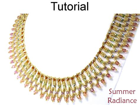 bead netting necklace beading tutorial pattern necklace netting stitch
