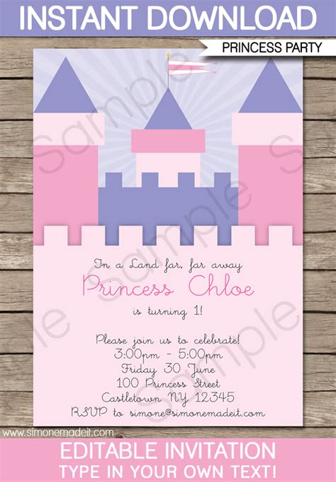 princess themed invitation template princess birthday invitations template