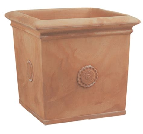 Square Terracotta Planters by Armeria Tuscan Rosone Conical Vase Square Planter