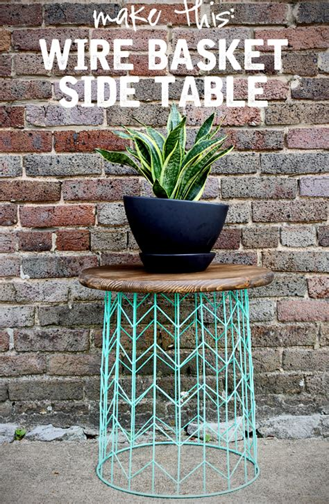 wire and wood basket side table side table from a wire basket a 20 minute diy idea
