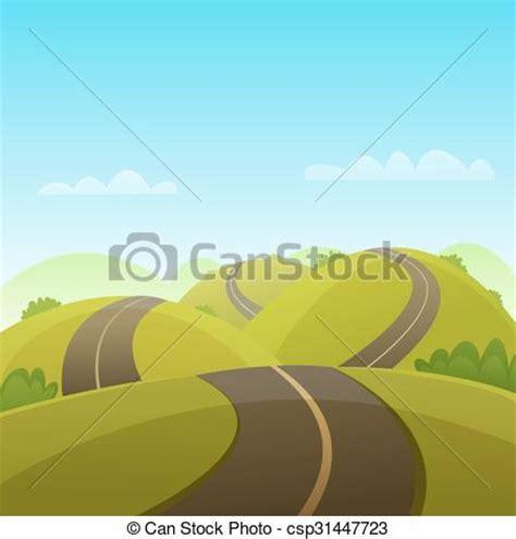 graphic design hill road vector illustration of hill road cartoon illustration of