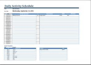 daily activity schedule template ms word daily activities schedule form template word
