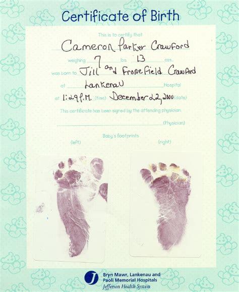 Hospital Birth Record Cameron S Web Page