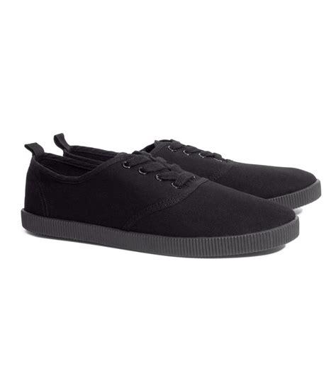 h m sneakers h m canvas sneakers in black lyst