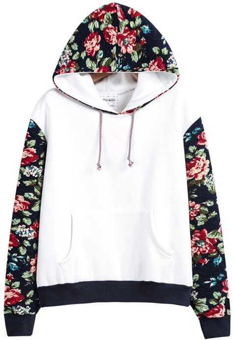 Fower Flower Sweater Hody white hooded contrast floral sweatshirt shein
