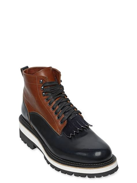 mens fringe boots dsquared 178 fringed leather boots in black for lyst