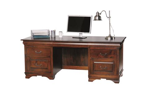 Solid Wood Office Desk Morgan Double Pedestal Executive Wooden Office Desk