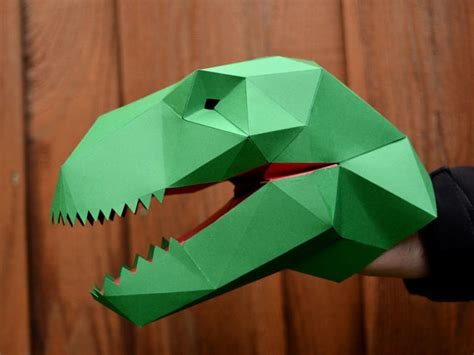 Make Paper Puppets - make your own t rex puppet with just paper and glue