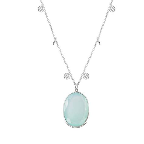 solid silver necklace with aqua chalcedony pendant by