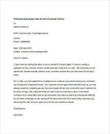 Customer Service Sle Letter Apology Professional Apology Letter To Customer Due To Poor Customer Service Vatansun