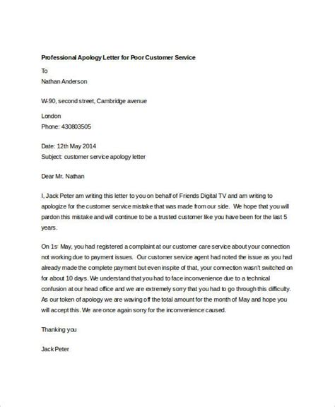 professional apology letter to customer due to poor