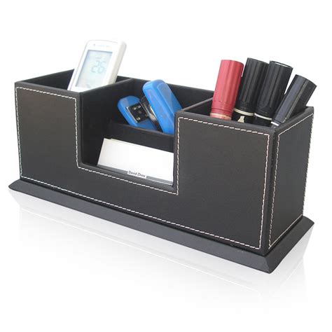 Desk Pen Organizer Wooden Structure Leather Surface Desk Multi Function Stationery Organizer With Pen Pencil