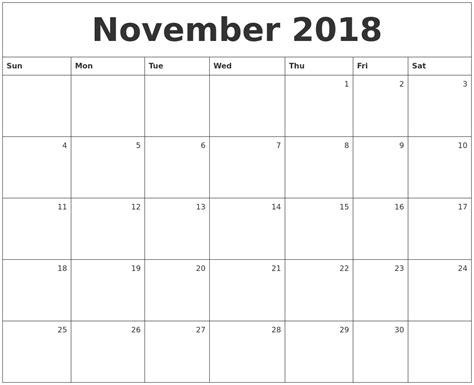 printable monthly calendar november november 2018 monthly calendar