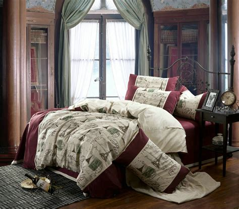 paris queen comforter set linen vintage paris eiffel tower bedding comforter set