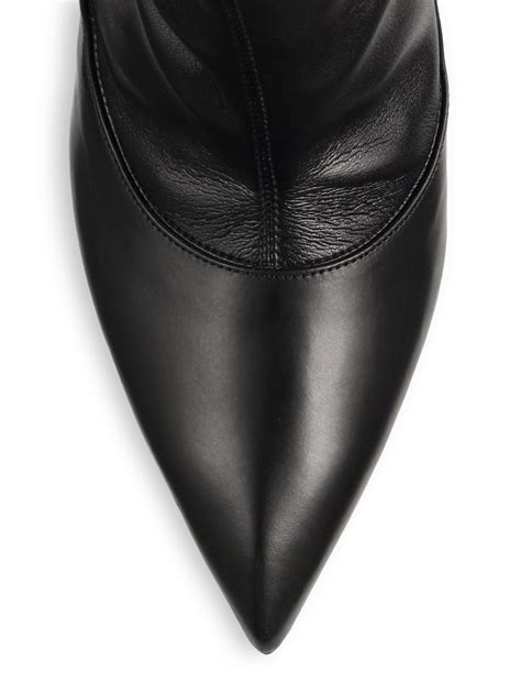 mcqueen the knee stretch leather boots in