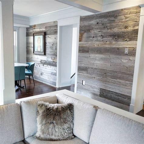 reclaimed grey barn board feature walls using