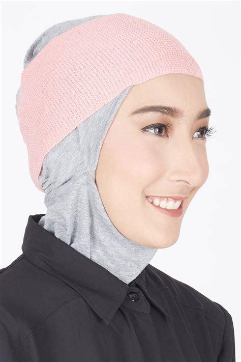 Ciput Basic sell shafeea inner bandana rajut dusty pink ciput