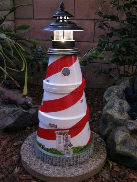 lighthouse made from clay pots crafts
