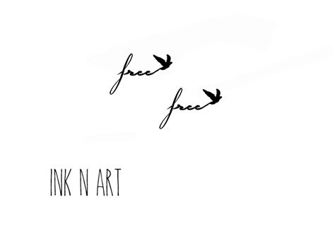 free bird tattoo 2pcs small quot free quot with bird inknart temporary