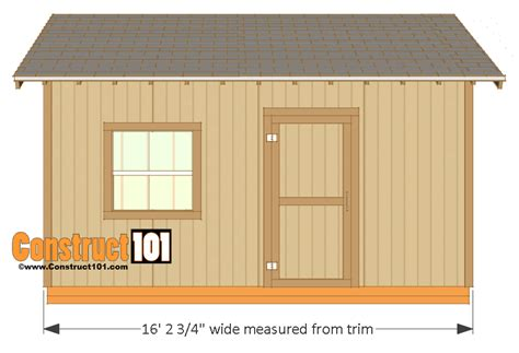 shed style 12x16 shed plans gable design construct101