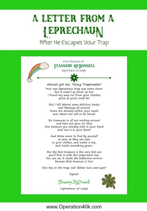 free printable letters from leprechaun leprechaun traps and printable letter operation 40k